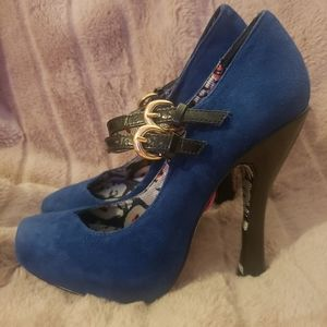 Betsey Johnson Blue suede heels